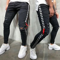 Men Slim Skinny Jeans Destroyed Distressed Ripped Frayed Denim Pants Trousers