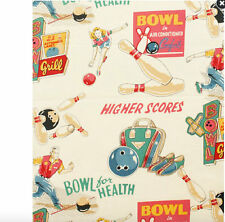 Vintage Look Bowling Fabric  ALEXANDER HENRY - COTTON- Bowl For Your Health- TEA