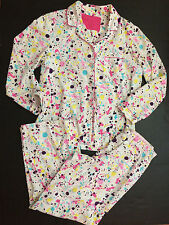Womens Victorias Secret Large Pajamas Set 2 Piece Shirt Pants Paint Splatter