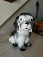 Vintage Dog Puppy Planter Black and White Nancy Pew Giftware Co.  Japan 6.5'""