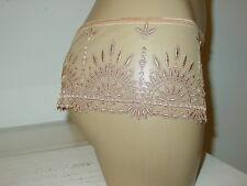 Chantelle 2694 tan beige tanga shortie undie panty sheer mesh floral embroider-S
