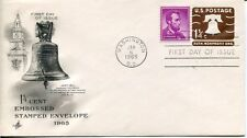 1965 1&1/4 CENT LIBERTY BELL EMBOSSED ENVELOPE ART CRAFT CACHET UNADDRESSED FDC