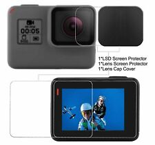 2PCS Tempered-Glass LCD Screen Protector & Lens Cover Cap for GoPro Hero 6, 5
