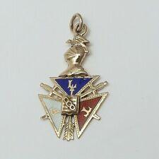 Victorian 10K Gold FLT Order Odd Fellows Enamel Eye Knight Shield Charm Pendant