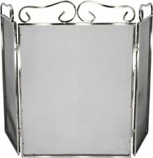 25cm Classic Ornate Stainless Steel 3 Fold Fireguard / Fire Screen / Spark Guard