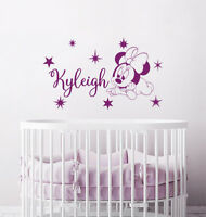 Minnie Mouse Personalized Girl Name Vinyl Stickers. Nursery Bedroom Decor NV297