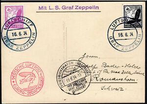 ✔️ 1934 GERMANY DR Zeppelinpost Luftschiff Graf Zeppelin NICE POSTCARD BODENSEE