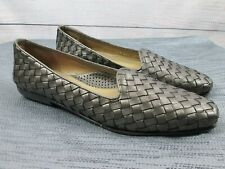 525020508d4 Robert Zur Woven Bronze Leather Slip On Loafers Flats Womens Shoes Size 10S