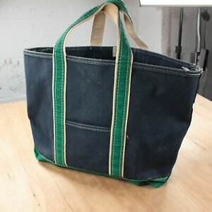 RARE vtg usa made LL BEAN blue green stripe canvas Boat And Tote bag