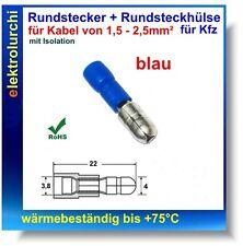 Kfz Rundstecker Blau, isoliert, 1,5-2,5mm², Kabelschuh Quetschverbinder, 10St.
