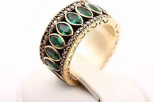 Pure Sultan! Turkish Jewelry Emerald Topaz 925 Sterling Silver Ring Size 4.5
