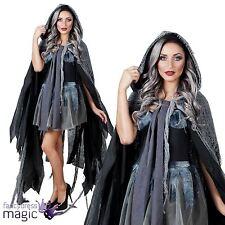 Ladies Grey Hooded Cape Of Gloom Ghost Bride Halloween Fancy Dress Costume Cloak