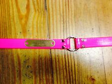 """1"""" Plastic Coated Nylon Pink Safety Dog Collar With Brass Custom Engraved Plate"""
