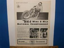 BSA wins 8 mile championship 1961 Cycle magazine original Ad             ads 279