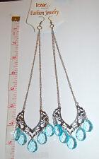 "KAY IMPORT Fashion Jewelry EARRINGS 7"" Teardrop Crystal SWAG Silver & AQUA"