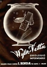 PUBBLICITA' 1940 OROLOGIO WILER VETTA IMPERMEABILE ITALIA IMPERO BINDA MILANO