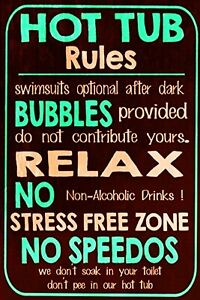 Hot Tub Rules Funny Vintage Retro Style Metal Sign, Letter Box Gift, Garden Shed