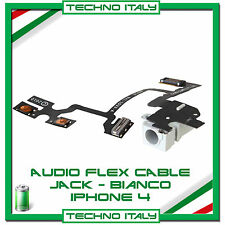 FLAT CONNETTORE JACK AUDIO VOLUME MUTE CUFFIA PER IPHONE 4 BIANCO FLEX