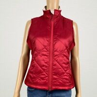 L.L. Bean Quilted Zip Front Vest Jacket SMALL Bright Red Faur Fux Lined Collar