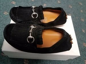 NIB NEW Gucci boys black suede fringe driver loafers shoes 24 25 26 371802