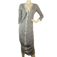 Alexander McQueen MCQ Black & Gray Fishnet Pattern Long Length Dress sz S