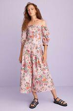 fe3e9ad35ca71c REBECCA TAYLOR Pink Floral Print Marlena Off Shoulder Cotton Linen Midi  Dress 14