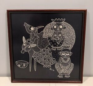 TRIBAL AFRICAN PEOPLE W/ COWS FRAMED BATIK FABRIC ART SIGNED