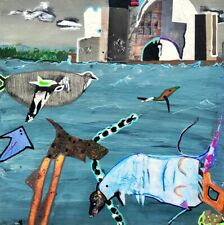 Moat...  Small Undersea Collage Art Surreal Water Sky Painting Steven Tannenbaum