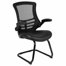 Flash Furniture Mesh Leather Sled Office Side Chair in Black