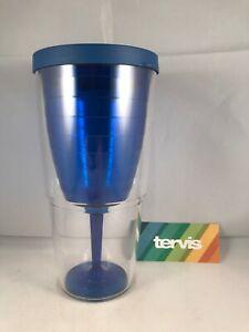 Tervis Tumbler Wine Glass Blue w/Lid