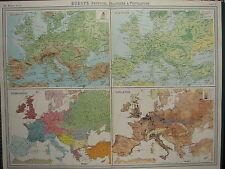 1920 GRANDE MAPA ~ EUROPA VEGETACIÓN DE OROGRAFÍA POBLACIÓN ETNOGRAFÍA POBLACIÓN