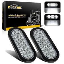 2x 6 inch 24 LED Clear Lens White Reverse Backup Fog Marker Lights w/Flush Mount