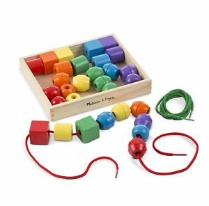 Primary Lacing Beads Educational Toy 30 Wooden Beads Melissa & Doug 544