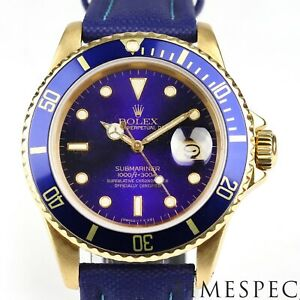 Rolex Submariner Date, 18K Yellow Gold. Model 16808. Year 1984