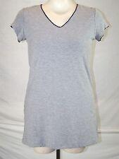 Tommy Hilfiger Gray Solid Print V-Neck short Sleeve Top Womens Size Medium 8 10