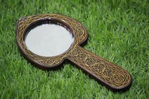 Leaf Hand  Antique Mirror , Wooden Mirror, Purse Mirror, Pocket Make up Mirror