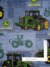 John Deere Fabric Farm Tractors Deer Logo Blue Patch Springs CP23487  ~ Yard