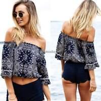 Womens Boho Sexy Off Shoulder Shirt Vintage Style Print Ruffle Tops Blouse S-XL