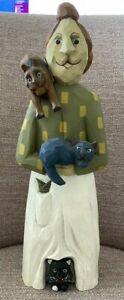L. KOOSED 1993 CARVED FOLK ART CAT LADY