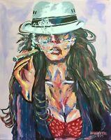Cohiba Cuban Cigar Babe Original Art Painting DAN BYL Contemporary Modern 4x5'