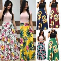 Women's Short Sleeve Floral Shirt Dress Long Maxi Dress Summer Casual Sundress