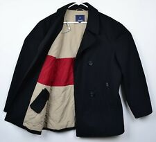 Faconnable Men's Sz Large Wool Navy Quilt Lined Double-Breasted Peacoat Jacket