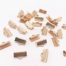 100pcs 6mm Metal Crimp End Fold Over Clasps Cord End Clips Jewelry #01