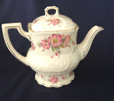 Crown Dorset Staffordshire England China Teapot Pink Wild Flowers