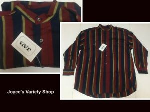 Men's 100% Silk Long Sleeved Shirt Red, Green & Blue Striped XL, L, M