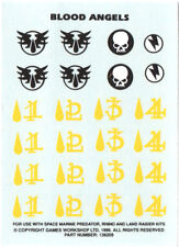 BLOOD ANGELS TRANSFER SHEET Decals Warhammer 40k Space Marines Angel Heraldry L1