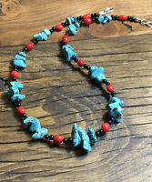 "#1124 Spiderweb Turquoise, Coral, Black Agate, 18""  Necklace, Sterling Silver"