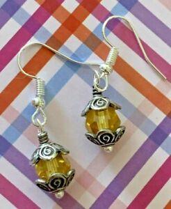 Brighton GLASS MOUNTAIN Crystal Yellow Sparkle Beads Custom Silver Earrings