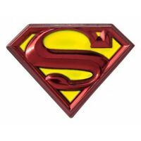 Superman Logo Colored Pewter Lapel Pin