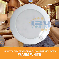 "12V 3"" LED Dome Ceiling Light RV Caravan Trailer Auto Boat Cabinet Lamp Warm W"